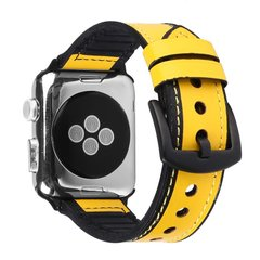 Ремешок для Apple Watch 38/40 mm Leather Silicone Loop Yellow