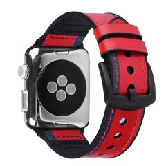 Ремешок для Apple Watch 38/40 mm Leather Silicone Loop Red