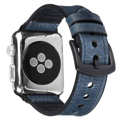 Ремешок для Apple Watch 38/40 mm Leather Silicone Loop Blue